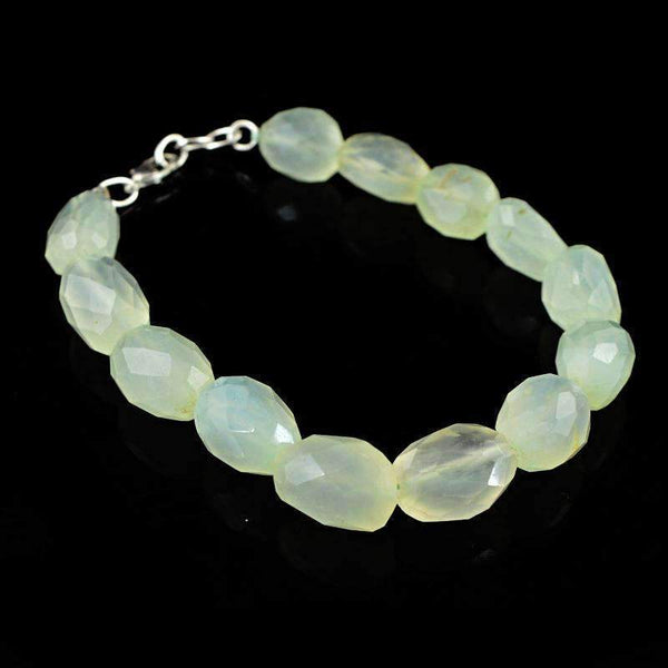 gemsmore:Beautiful Green Chalcedony Bracelet Natural Faceted Beads