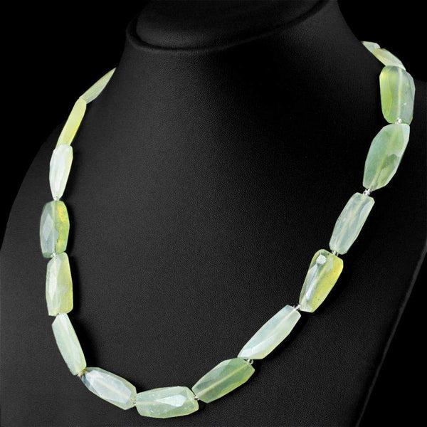 gemsmore:Beautiful Green Phrenite Necklace Natural Untreated Faceted Beads