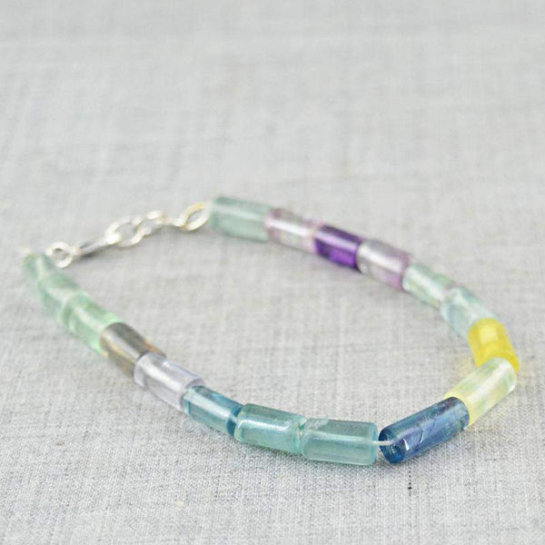 gemsmore:Beautiful Multicolor Fluorite Bracelet Natural Untreated Beads