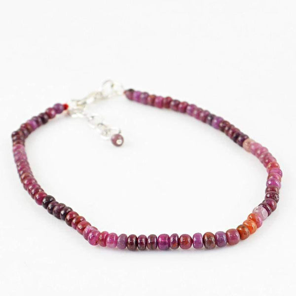 gemsmore:Beautiful Natural Red Garnet Bracelet Unheated Round Beads