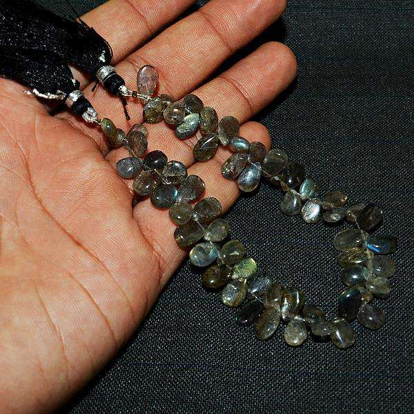gemsmore:Beautiful Pear Shape Blue Flash Labradorite Drilled Beads Strand