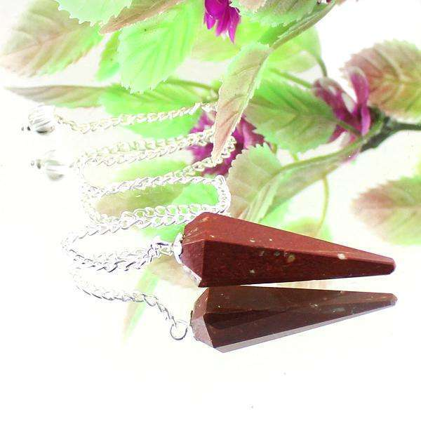 gemsmore:Beautiful Red Jasper Reiki Healing Point Pendulum