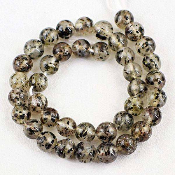 gemsmore:Beautiful Round Shape Rutile Quartz Drilled Beads Strand