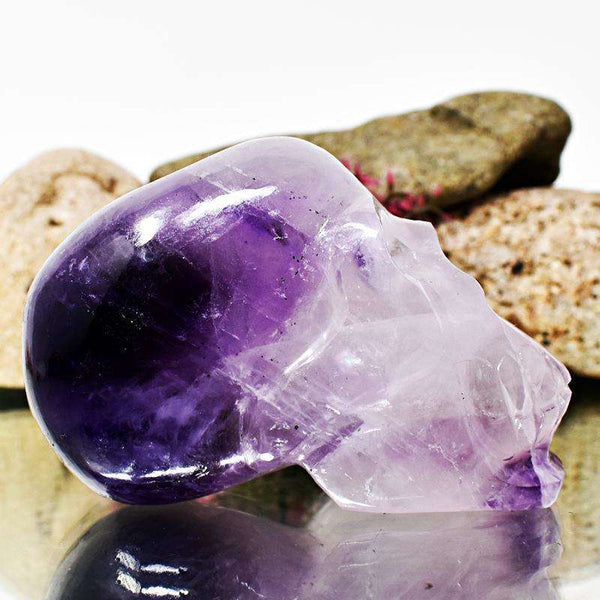 gemsmore:Bi-Color Amethyst Hand Carved Human Skull