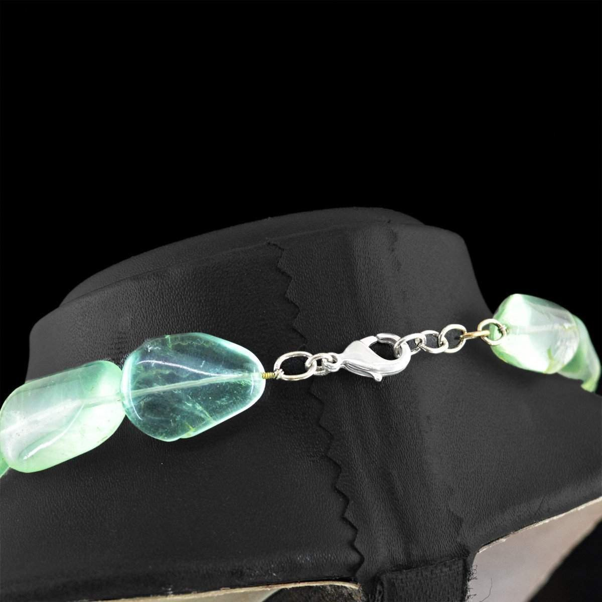 gemsmore:Big Size Green Fluorite Necklace Natural Untreated Beads