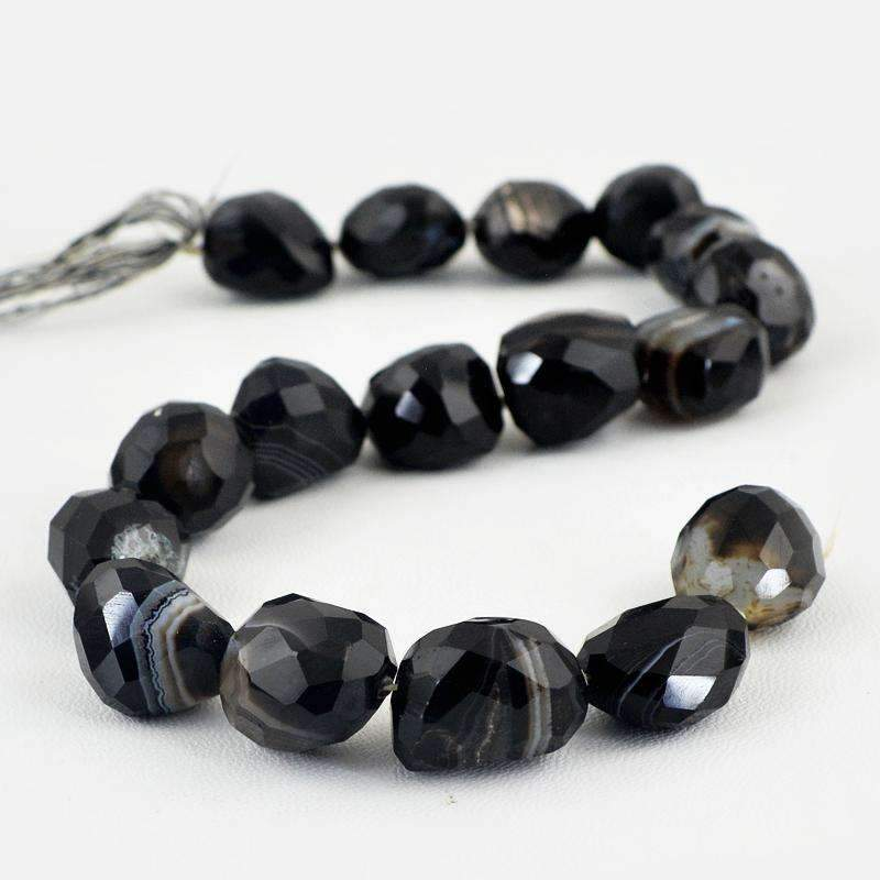 gemsmore:Black Onyx Beads Strand Natural Faceted Drilled