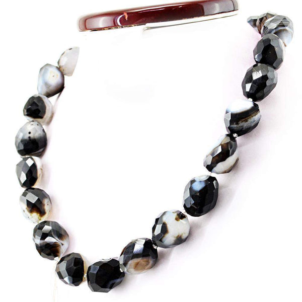 gemsmore:Black Onyx Necklace Natural Faceted Genuine Beads