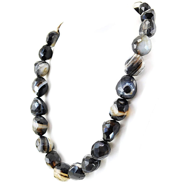 gemsmore:Black Onyx Necklace Natural Single Strand Untreated Faceted Beads