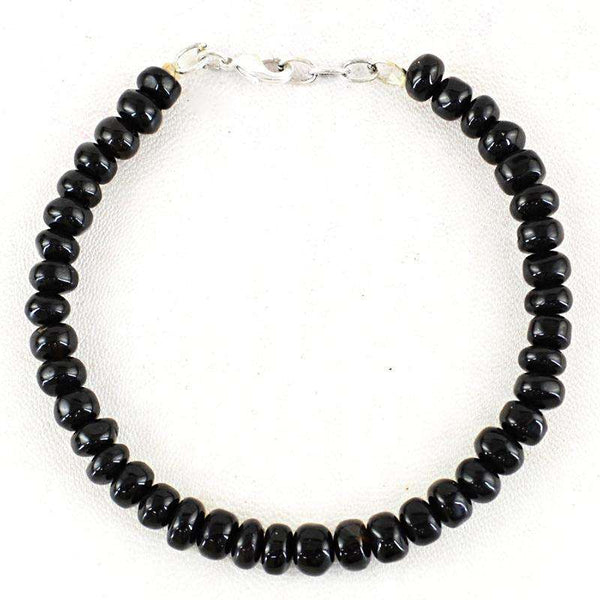 gemsmore:Black Spinel Beads Bracelet Natural Round Shape