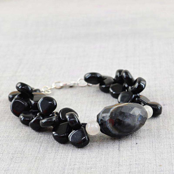 gemsmore:Black Spinel & Black Onyx Bracelet - Natural Pear Shape Beads