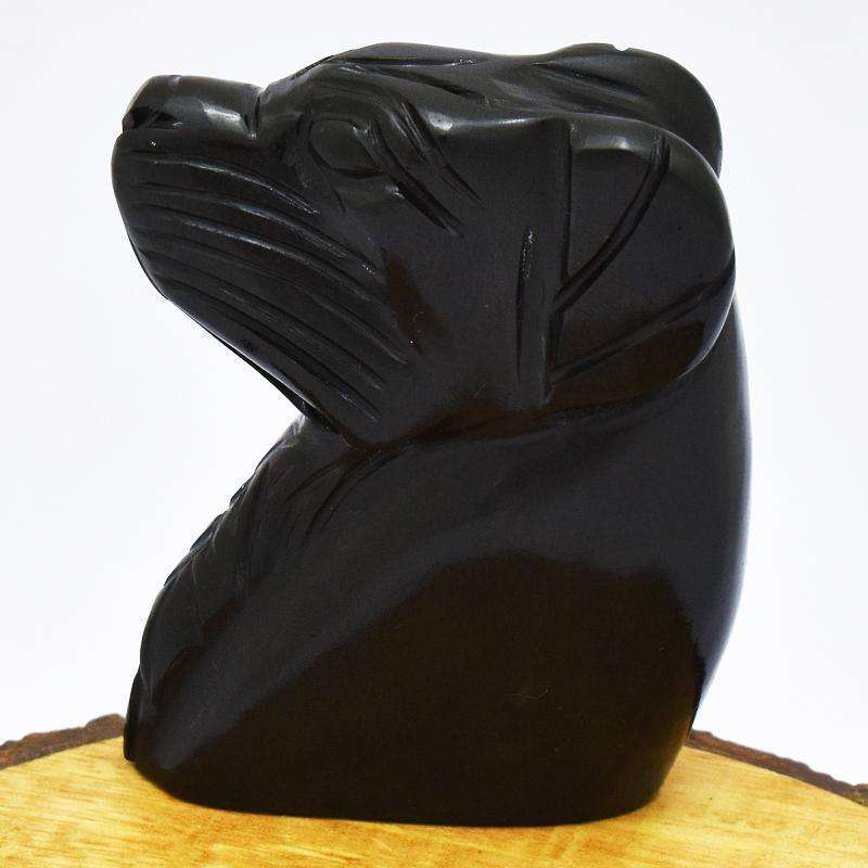 gemsmore:Black Spinel Hand Carved Dog Head