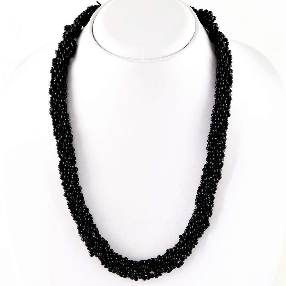 gemsmore:Black Spinel Necklace Natural Round Shape Beads - Best Quality