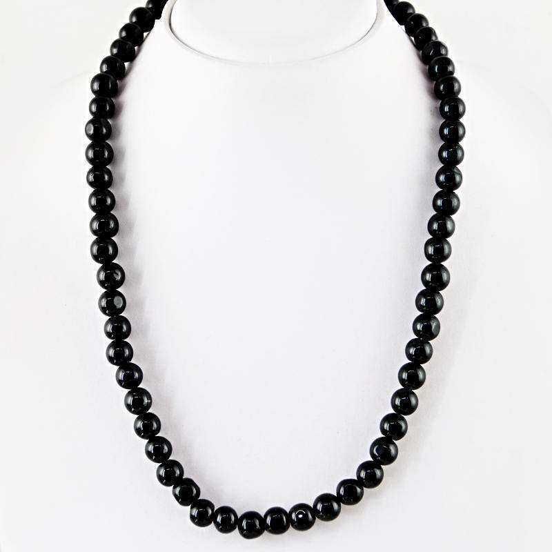gemsmore:Black Spinel Necklace Natural Untreated Round Shape Beads