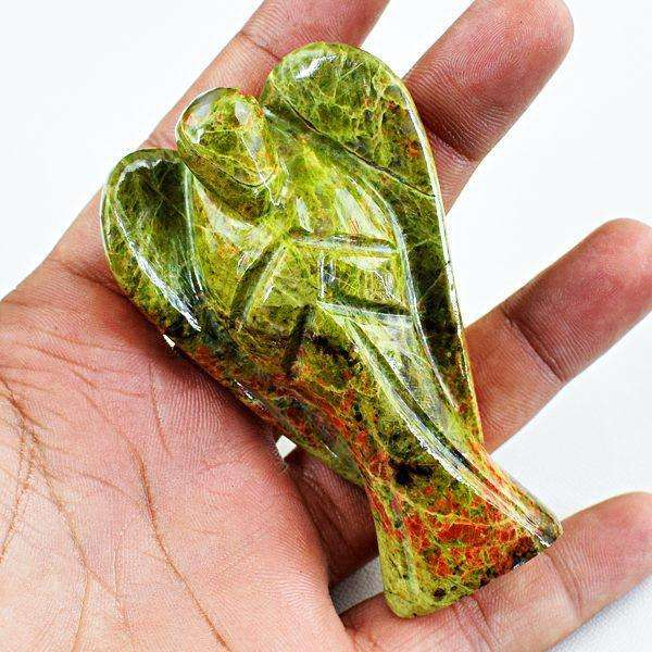 gemsmore:Blood Green Unakite Carved Healing Crystal Angel