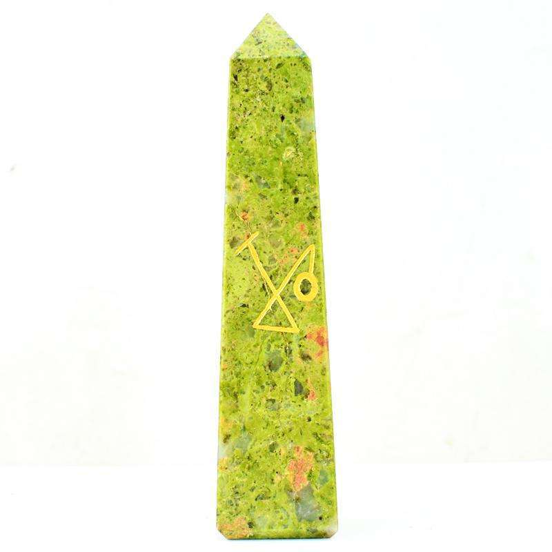 gemsmore:Blood Green Unakite Hand Carved Healing Point Symbol
