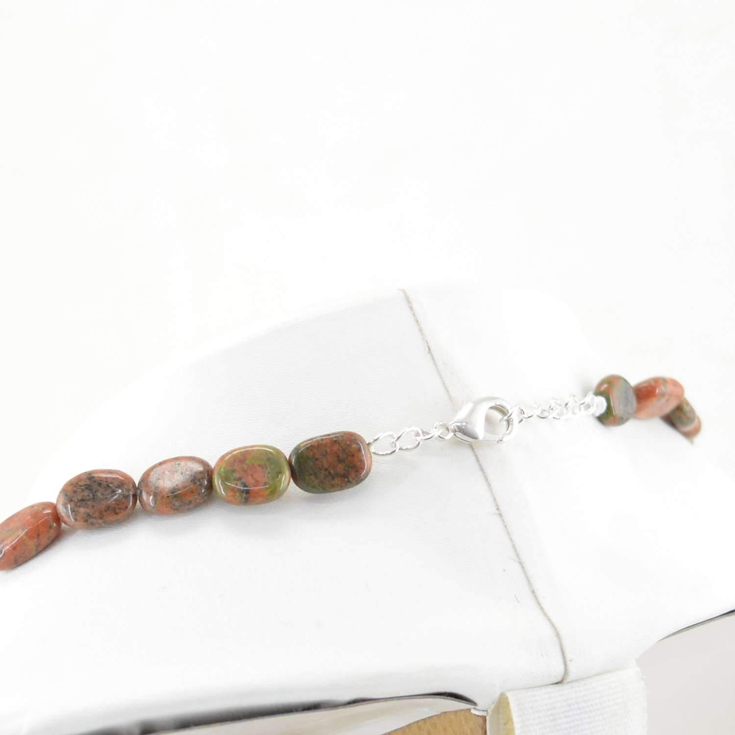 gemsmore:Blood Green Unakite Necklace Natural Single Strand Oval Shape Beads