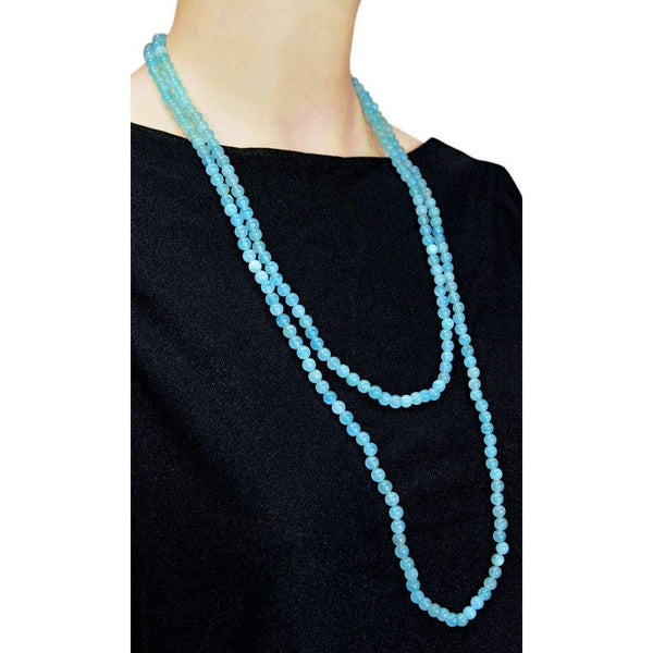 gemsmore:Blue Aquamarine Necklace Natural Single Strand Round Shape Beads
