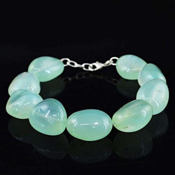 gemsmore:Blue Chalcedony Natural Untreated Beads Bracelet