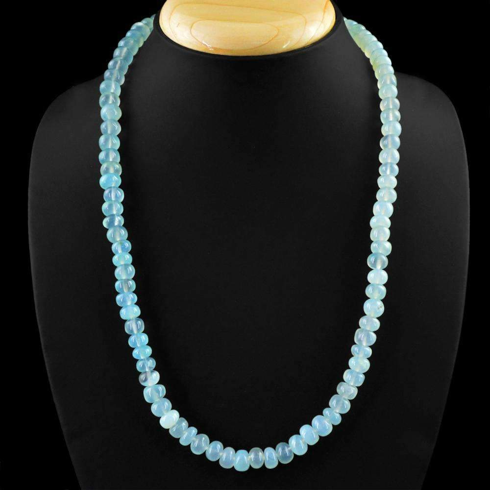 gemsmore:Blue Chalcedony Necklace Natural 20 Inches Long Untreated Round Shape Beads