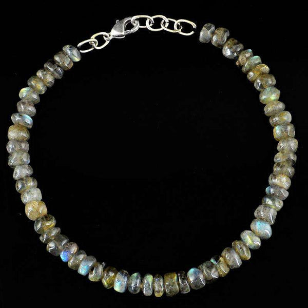 gemsmore:Blue Flash Labradorite Beads Bracelet Natural Round Shape