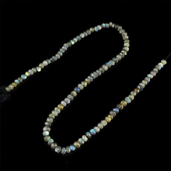 gemsmore:Blue Flash Labradorite Beads Strand Natural Round Shape Faceted Drilled