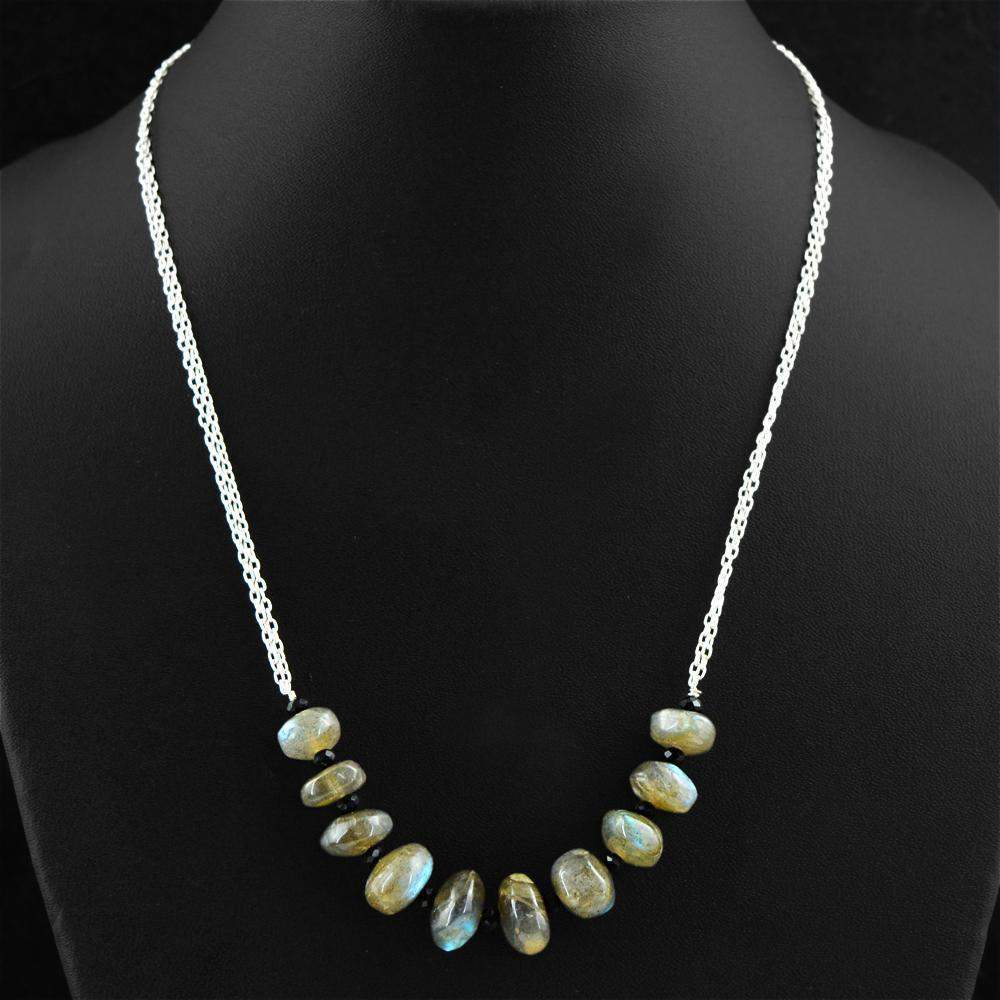gemsmore:Blue Flash Labradorite & Black Spinel Necklace Natural Round Shape Beads