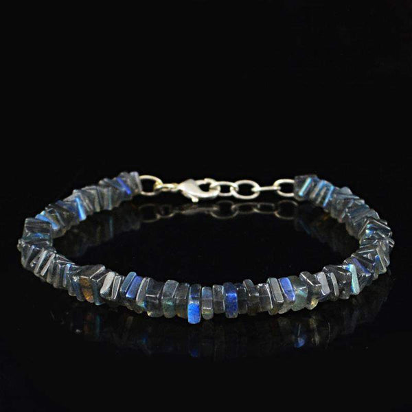 gemsmore:Blue Flash Labradorite Bracelet Natural Genuine Beads