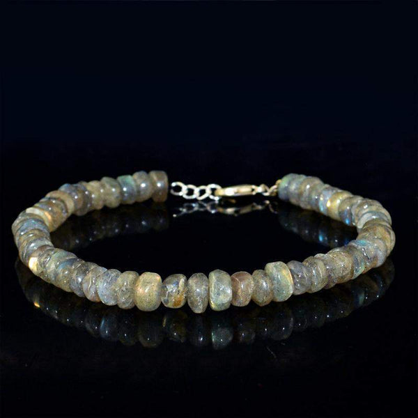 gemsmore:Blue Flash Labradorite Bracelet Natural Untreated Round Shape Beads