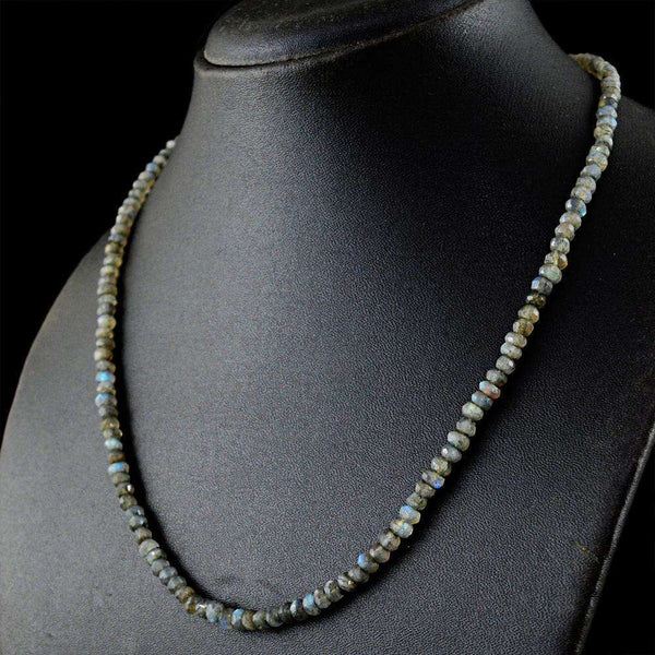 gemsmore:Blue Flash Labradorite Necklace Natural Faceted Round Shape Beads