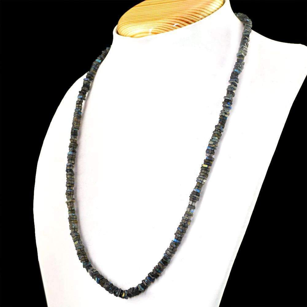 gemsmore:Blue Flash Labradorite Necklace Natural Single Strand Untreated Beads - Best Offer