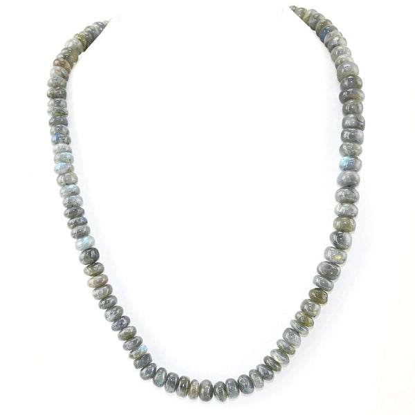 gemsmore:Blue Flash Labradorite Necklace Single Strand Natural Round Beads