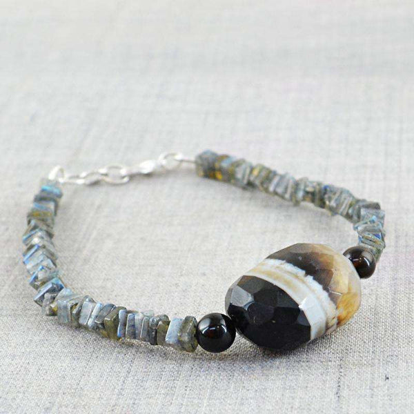 gemsmore:Blue Flash Labradorite & Onyx Bracelet Natural Untreated Beads
