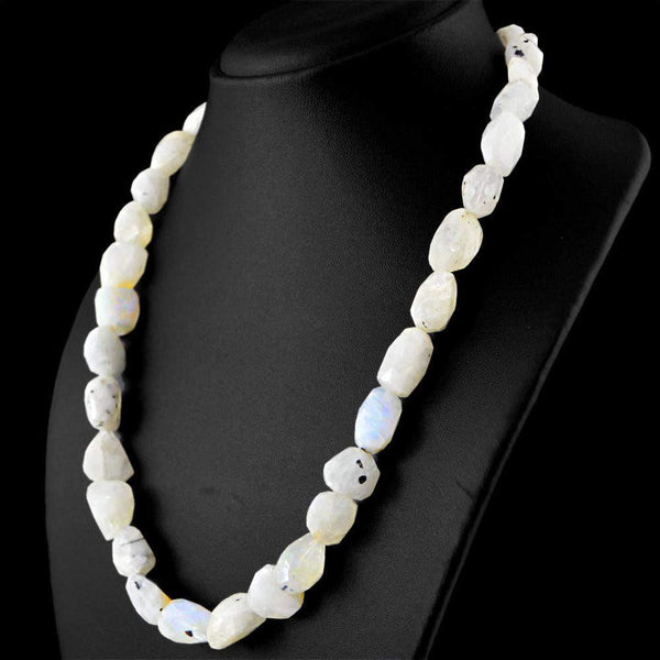 gemsmore:Blue Flash Moonstone Necklace Natural Faceted Untreated Beads