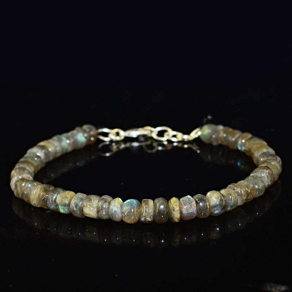 gemsmore:Blue & Golden Flash Labradorite Bracelet Natural Round Shape Beads