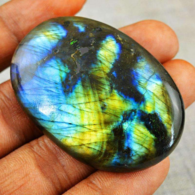 gemsmore:Blue & Golden Flash Labradorite Gemstone Natural Oval Shape