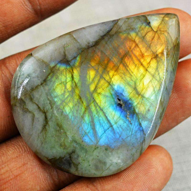 gemsmore:Blue & Golden Flash Labradorite Gemstone Natural Pear Shape