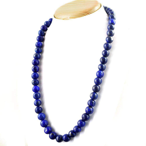 gemsmore:Blue Lapis Lazuli Necklace Natural 20 Inches Long Round Shape Beads