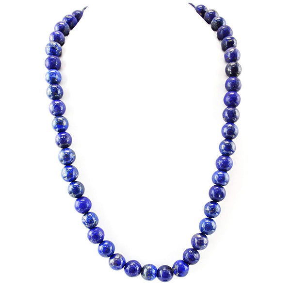 gemsmore:Blue Lapis Lazuli Necklace Natural Round Shape Beads - 20 Inches Long