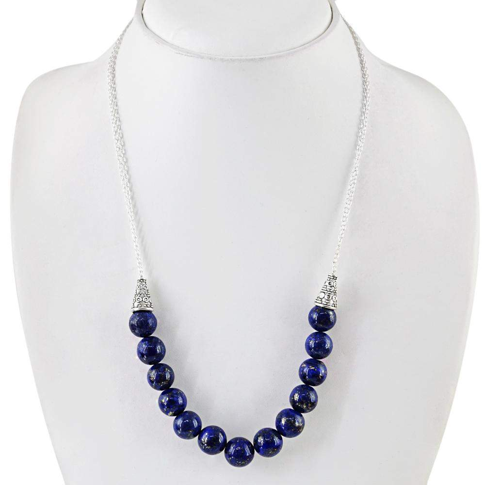 gemsmore:Blue Lapis Lazuli Necklace Natural Untreated Round Shape Beads