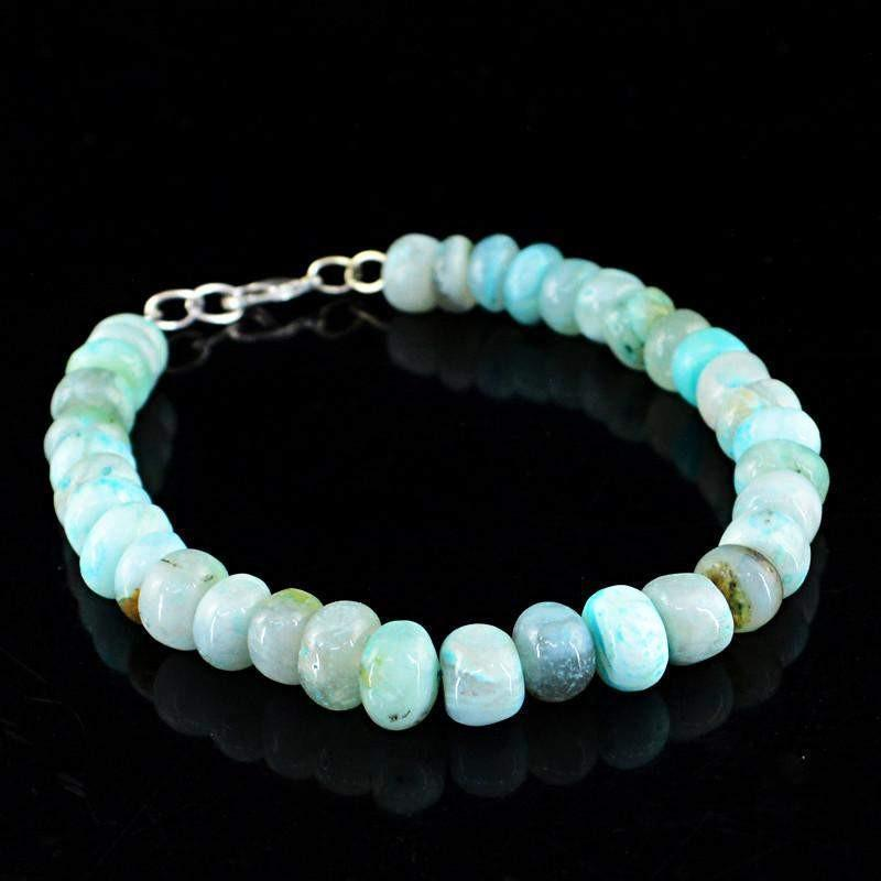 """Details about  /NATURAL PERUVIAN OPAL BRACELET OVAL 32 CTS SOLID 925 STERLING SILVER 7/"""" #2102"""