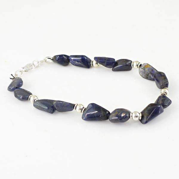 gemsmore:Blue Tanzanite Bracelet Natural Untreated Beads