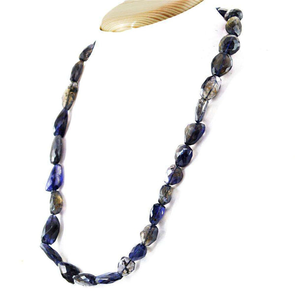 gemsmore:Blue Tanzanite Necklace Natural 20 Inches Long Faceted Beads
