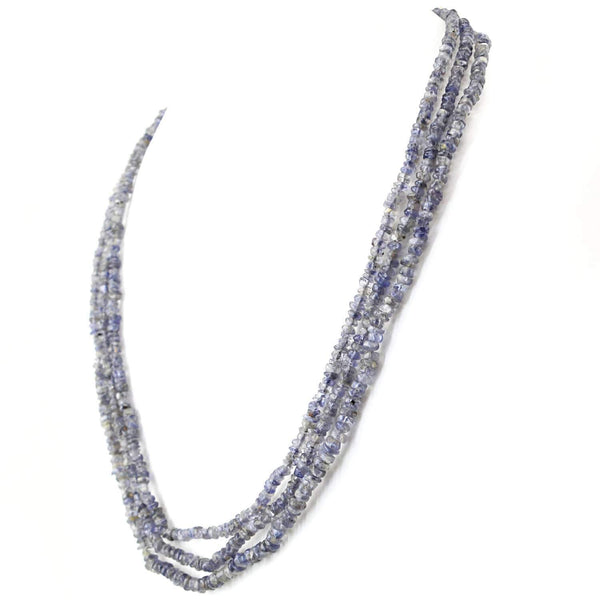 gemsmore:Blue Tanzanite Necklace Natural 3 Strand Round Shape Untreated Beads