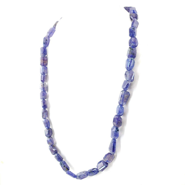 gemsmore:Blue Tanzanite Necklace Natural Faceted Beads