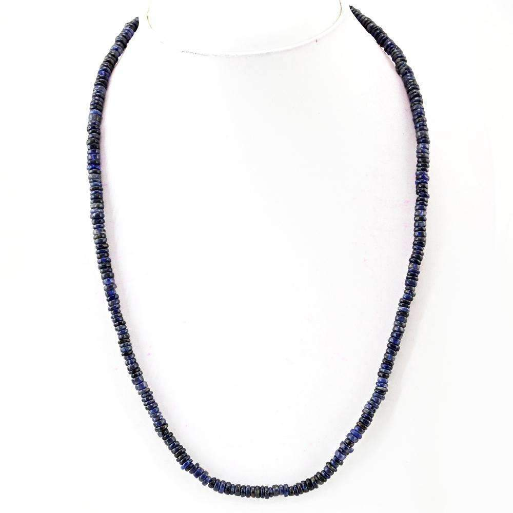 gemsmore:Blue Tanzanite Necklace Natural Round Shape Untreated Beads