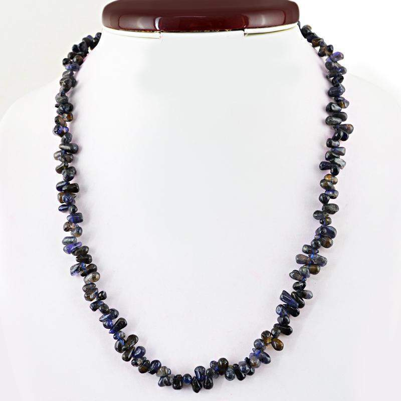 gemsmore:Blue Tanzanite Necklace Natural Tear Drop Untreated Beads