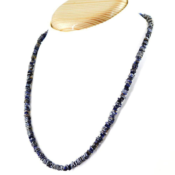 gemsmore:Blue Tanzanite Necklace Single Strand Natural Untreated Beads