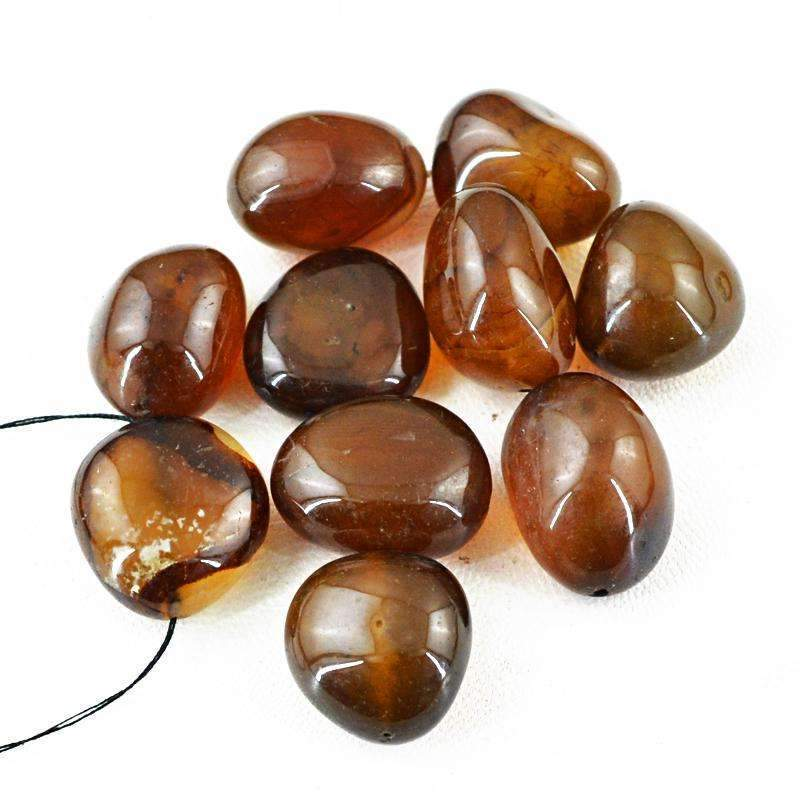 gemsmore:Brown Onyx Beads Lot - Natural Drilled