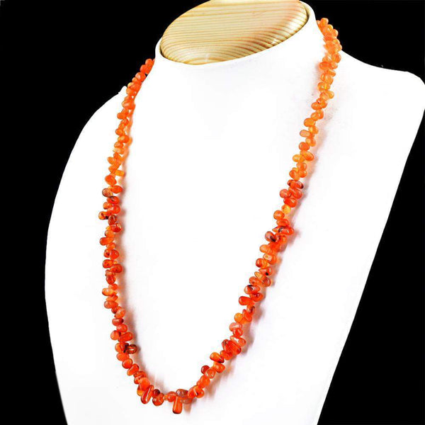 gemsmore:Carnelian Necklace Natural Untreated Tear Drop Beads