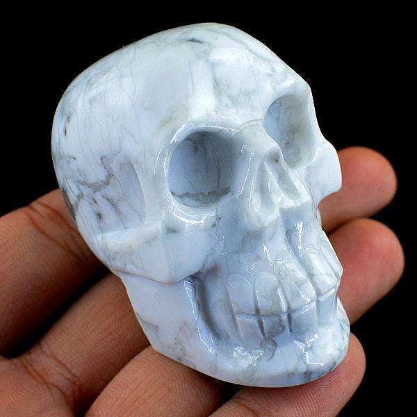 gemsmore:Carved White Howlite Human Skull Gemstone